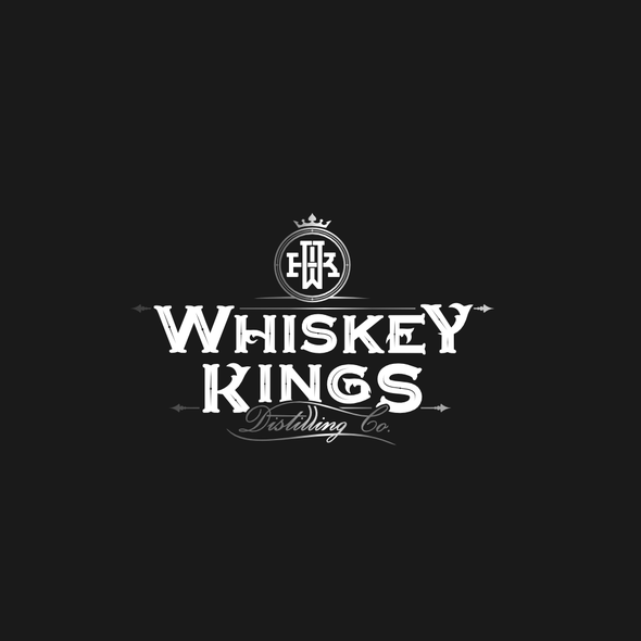 Whiskey bottle logo with the title 'Whiskey Distillery Logo'