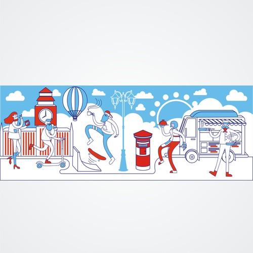 Mural design with the title 'mural illustration for restaurant'