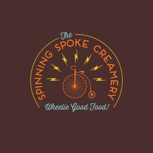 Electric shock logo with the title 'Create a logo for brand new, fresh fruit, mobile ice cream cart powered entirely by bike!'