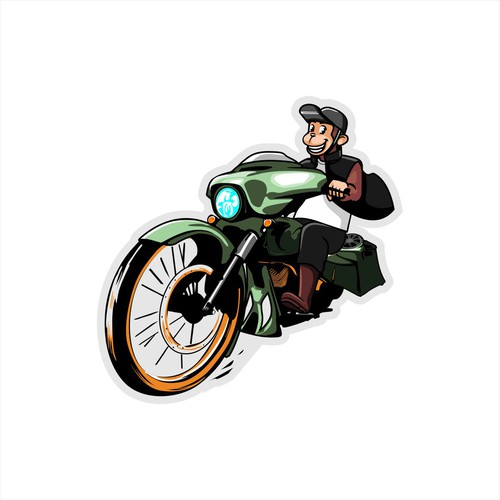 Motorbike design with the title 'monkey illustration on the motorcycle.'