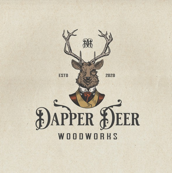 Woodworking design with the title 'Dapper Deer'