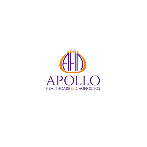 Greek mythology logo with the title 'Logo for a medical practice called APOLLO Healthcare & Diagnostics.'
