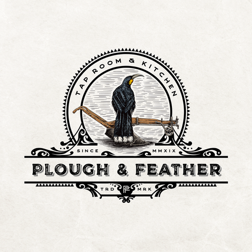Feather logo with the title 'Plough & Feather'