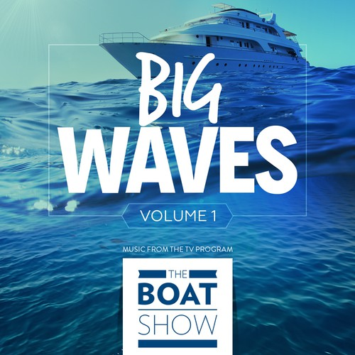 Boat illustration with the title 'iTunes Cover Art for The Boat Show Music Compilation'