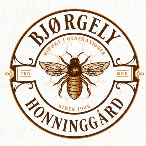Honeybee design with the title 'Bjørgely Honninggård'