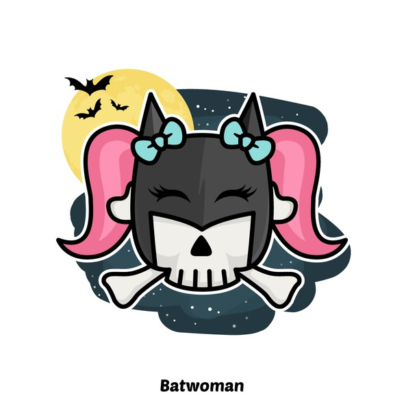 Batman design with the title 'Batwoman - Skull'