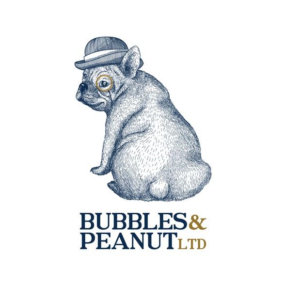 French bulldog design with the title 'Bubbles & Peanut LTD Logo design'