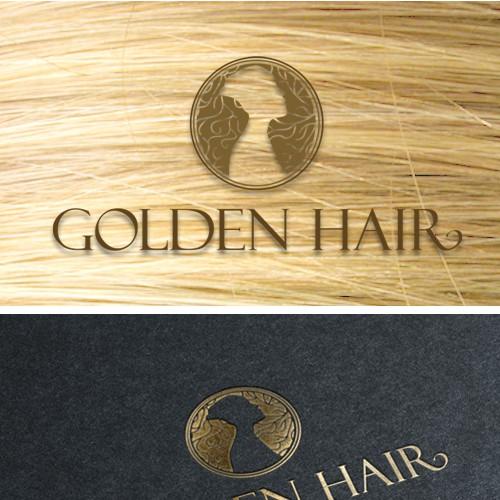 Goddess logo with the title 'Golden hair logo'