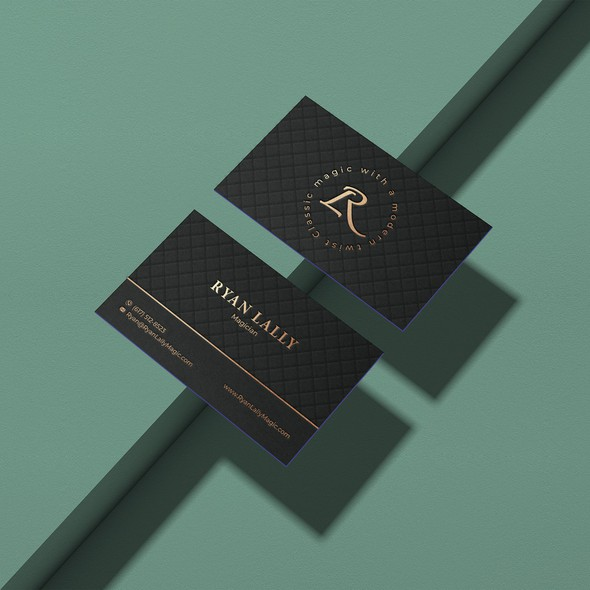 Gold foil design with the title 'Business card for a magician'