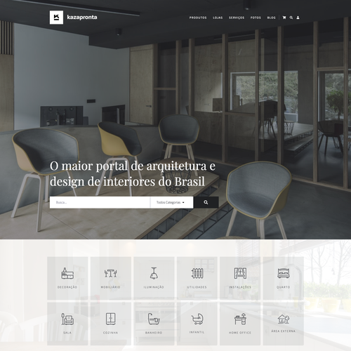 Interior design website with the title 'Interior design e-commerce and architecture marketplace website'