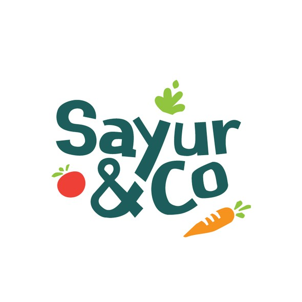 Vegetable logo with the title 'Sayur & co Logo'