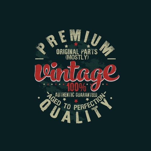 Badge t-shirt with the title 'Vintage'
