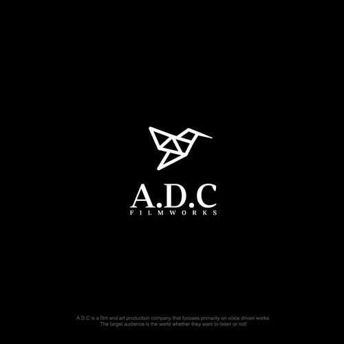 Polygonal design with the title 'A.D.C Filmworks'
