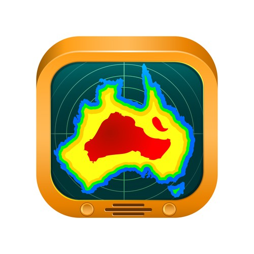 Radar design with the title 'Weather TV icon'