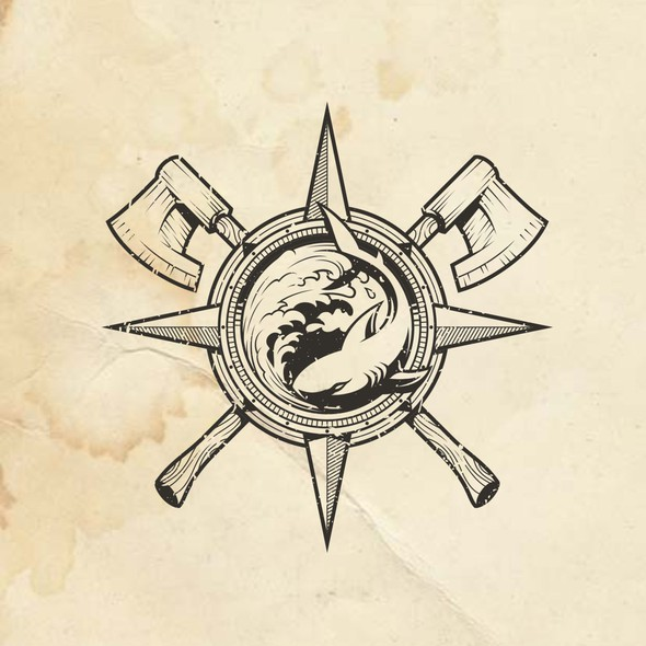Carpentry logo with the title 'Logo for Partners - Craftsman and Marine Biologist'