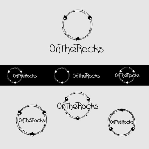 "Gemstone logo with the title 'How do you take your bangles?  Create a stylish logo for ""On the Rocks""'"