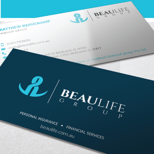 Green and blue design with the title 'Logo for BeauLife Group'