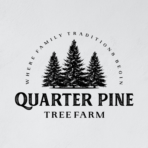 Christmas tree logo with the title 'Quarter Pine Tree Farm - Logo'