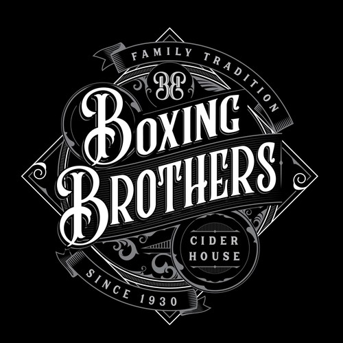 Silver logo with the title 'Boxing Brothers Cider House'