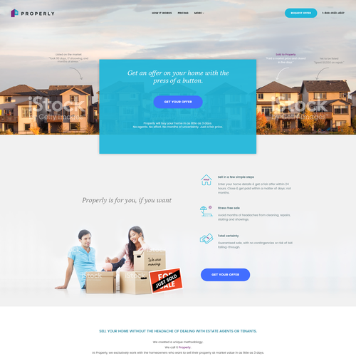Home website with the title 'Homepage design for real estate tech company based in Canada'