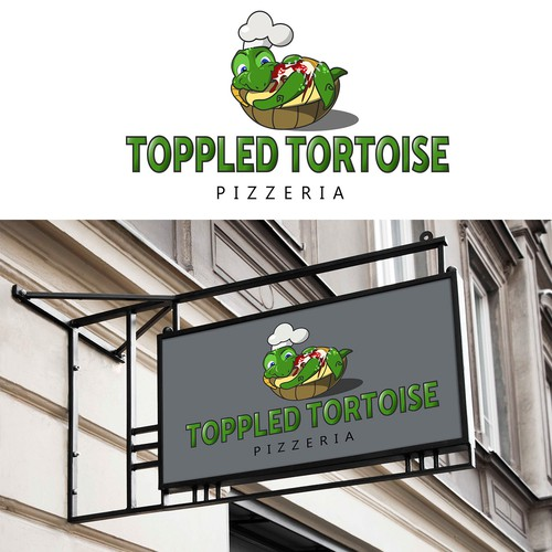 Tortoise design with the title 'cute cartoony logo for pizzeria'