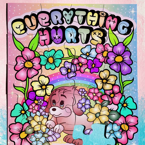 Adobe Illustrator artwork with the title 'Everything Hurts and I'm Dying Puzzle Design'