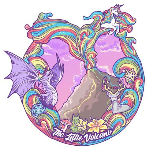 Rainbow artwork with the title 'Rainbow volcano'