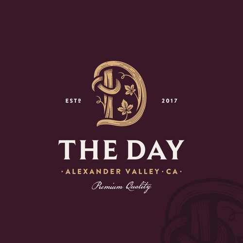 Vineyard design with the title 'The Day'