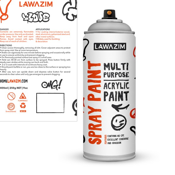 Art packaging with the title 'Lawazim Spraypaint Can'