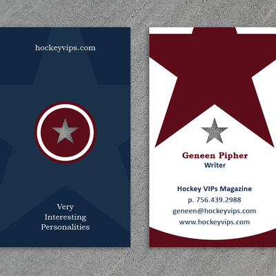 Create a business card for Hockey VIPs Magazine