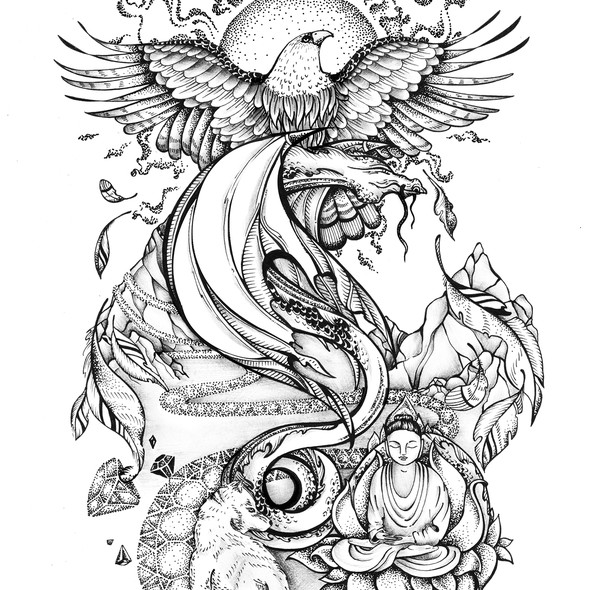Dotwork design with the title 'Spiritual Journey Tattoo'