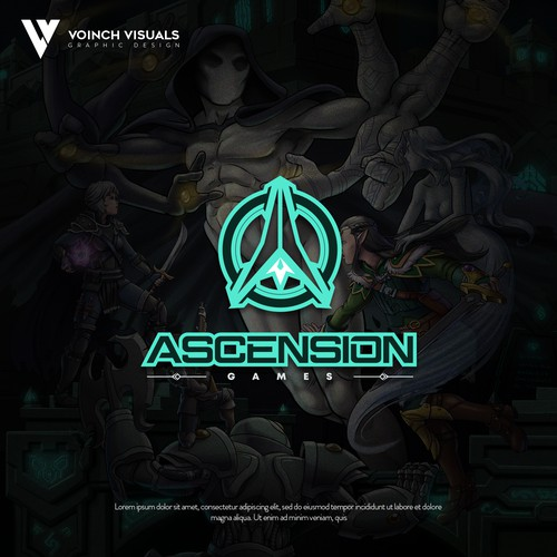 Role playing game logos logo with the title 'Ascension Games'