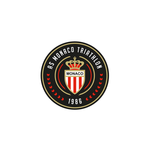 Round logo with the title 'Clean, minimal, circular logo for AS Monaco Triathlon'