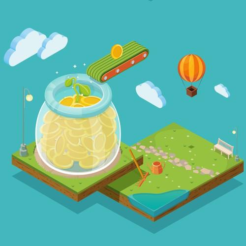 Money illustration with the title '3d Money Jar'