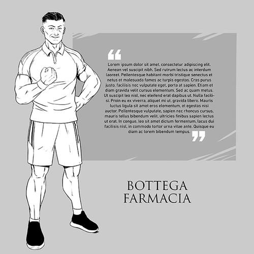 Comic book character artwork with the title 'bottega farmacia'