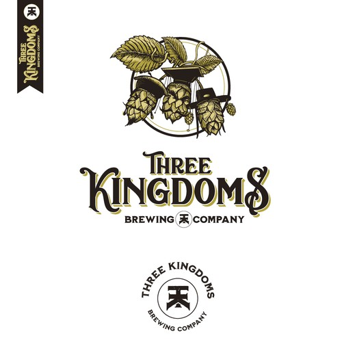 Yellow logo with the title 'Three kingdoms brewing company'