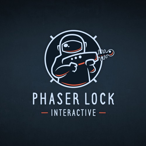 Astronaut logo with the title 'Logo for Virtual Reality Video Game company PHASER LOCK INTERACTIVE'