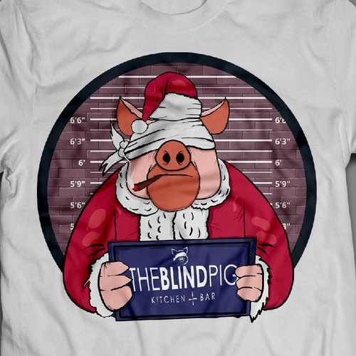 Christmas t-shirt with the title 'Blind Pig T shirt Illustration'
