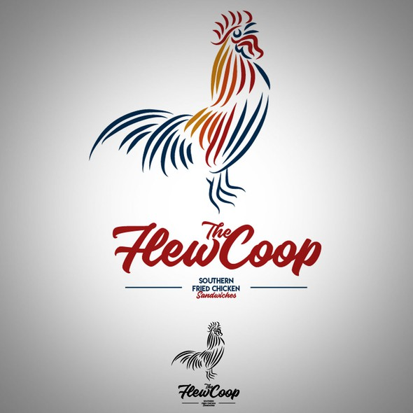 Fried chicken logo with the title 'Flew the Coop Logo'