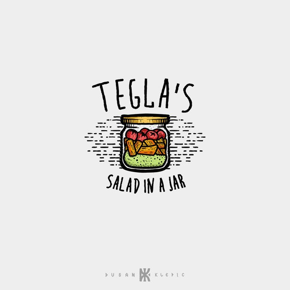 Salad logo with the title 'Tegla's Salad In A Jar'