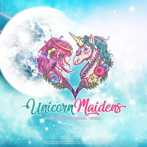 Illustrative design with the title 'Unicorn Maidens'