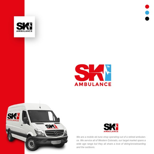 Snowboarding design with the title 'Ski Ambulance'