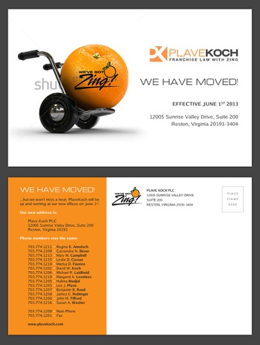 "Moving design with the title '""We Have Moved!"" Postcard for PlaveKoch'"