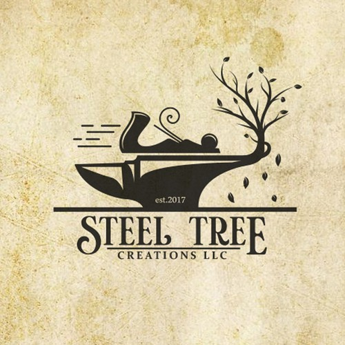 Woodworking logo with the title 'STEEL TREE LOGO'