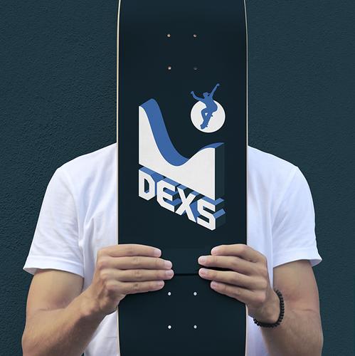 Skateboard design with the title 'DEXS // Skateparks Building [2]'