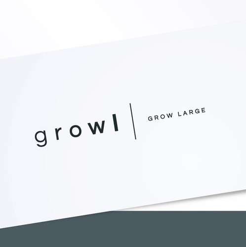 Gray and purple logo with the title 'Growl | GROW LARGE'