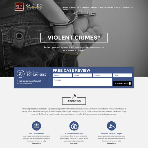 Lawyer website with the title 'Salt Lake City Criminal Defense Website Design'