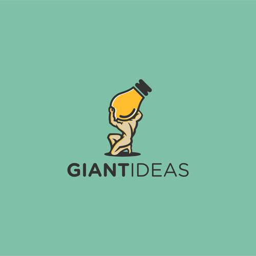 Bright idea logo with the title 'Create an Award winning Logo for Giant Ideas'