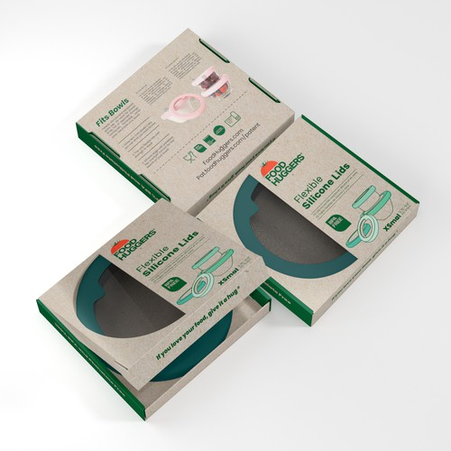 Cardboard packaging with the title 'Food Huggers'