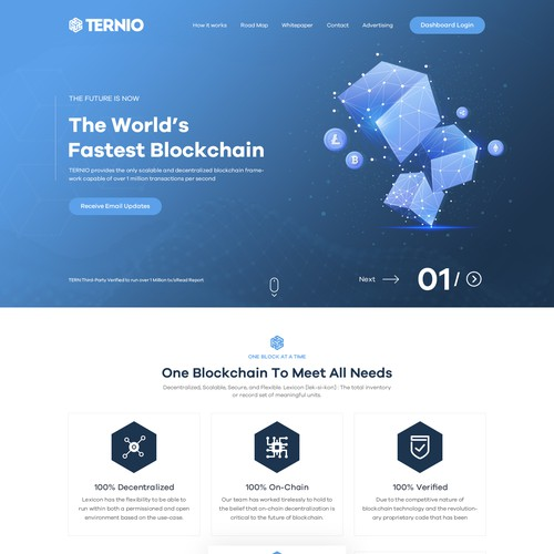 Tech design with the title 'B2B Block Chain Company Website design'